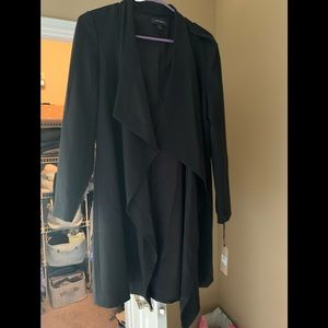 Halogen long black blazer coat